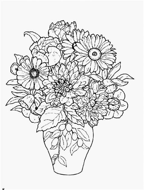 vase  flowers coloring page coloring home