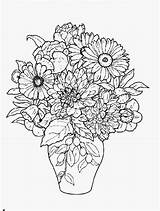 Coloring Flowers Vase Flower Bouquet Sheets Drawing Detailed Colouring Roses Adult Printable Pot Blommor Mandala Adults Sketches Tecknade Sunflower Painting sketch template