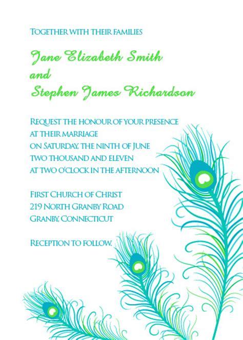 peacock feathers wedding invitation wedding invitation