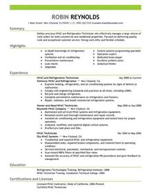 resume for hvac installer best hvac and refrigeration resume exle livecareer