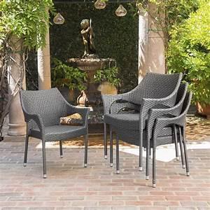Barletta, Outdoor, Wicker, Stacking, Chairs, Set, Of, 4, Gray, -, Walmart, Com