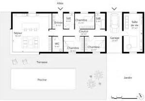 plan de maison de plain pied avec 4 chambres plan maison en u plain pied avec piscine