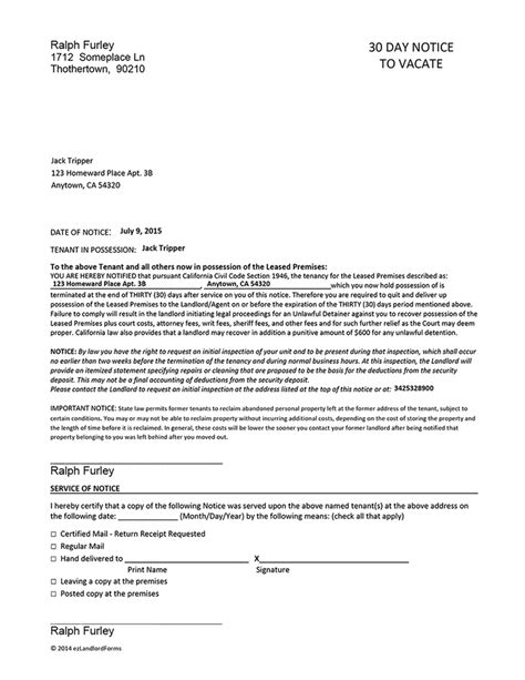 california  day notice  vacate ez landlord forms