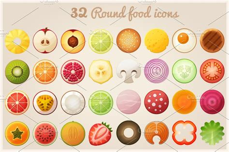 fruit halves   food icons icons creative market