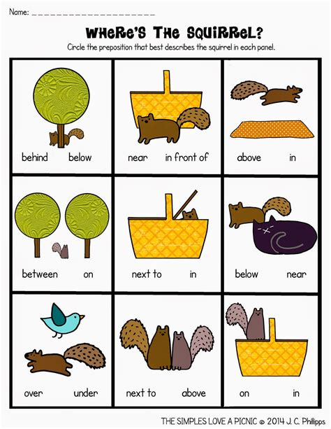 prepositions in on worksheets prepositions