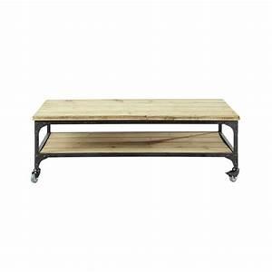 Table Maison Du Monde Bois : table basse indus roulettes en bois et m tal l 110 cm ~ Premium-room.com Idées de Décoration