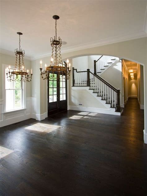 dark hardwood floors     foyer