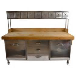 industrial kitchen furniture industrial stainless steel and wood kitchen work station prep table at 1stdibs