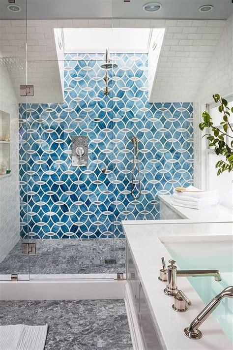 cool tile showers picture of blue patterned mosaic shower tiles
