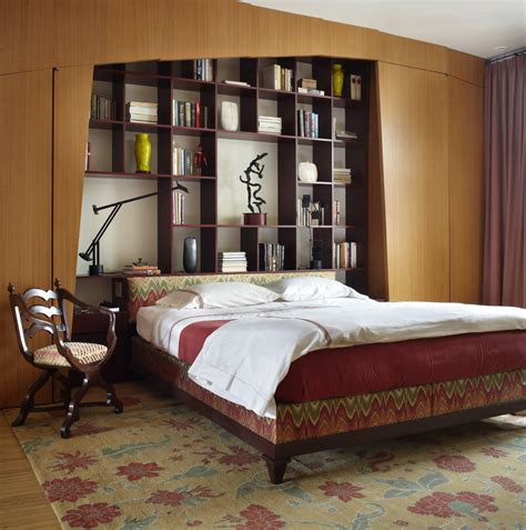 Chic Bookcase Headboard In Bedroom Contemporary With