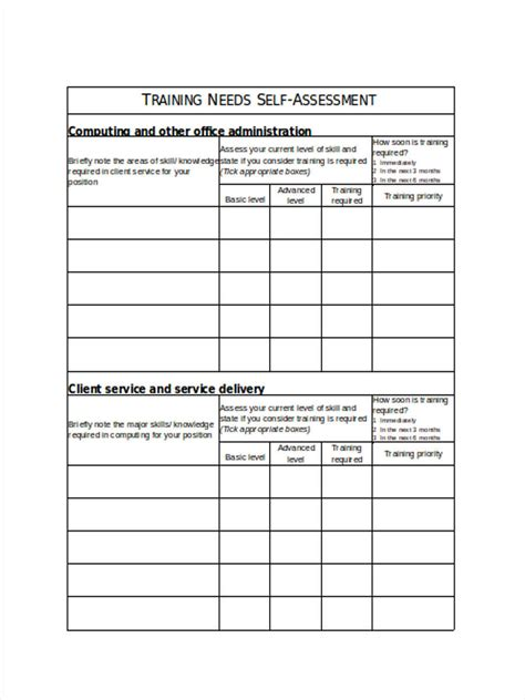 training  assessment forms  ms word