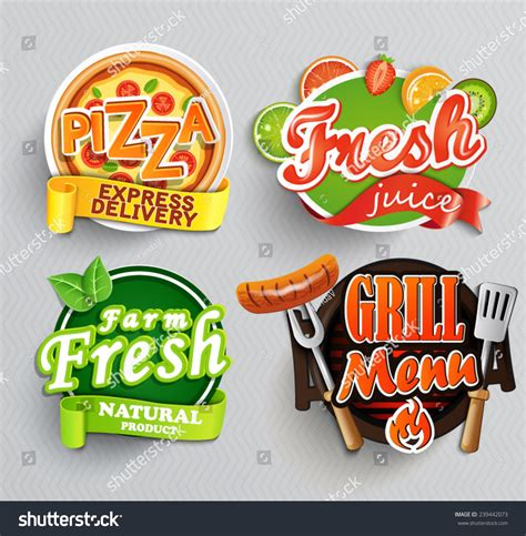 stickers vitres cuisine set stickers food farm freshpizza fresh stock vector