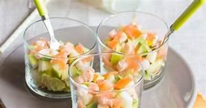 Verrines de crevettes, saumon fumé, laitue et granny smith Recette par Moi,gourmande
