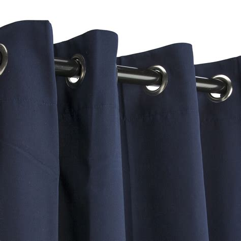 navy grommeted sunbrella outdoor curtains
