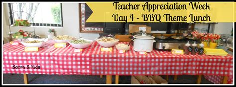 bbq theme teacher appreciation week day 3 chocolate covered pretzels and day 4 bbq theme lunch bacon kids
