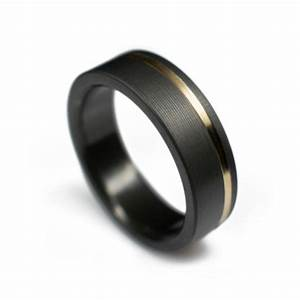 Black Ring In Zirconium With Offset 14k Yellow Gold Inlay ...