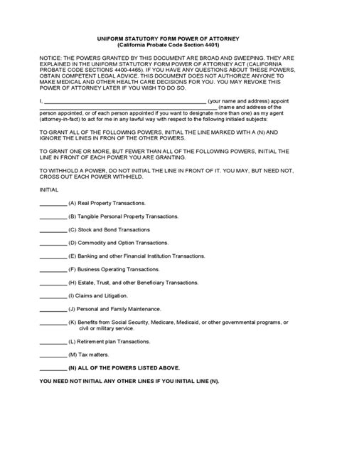 exle of power of attorney form statutory power of attorney form 31 free templates in