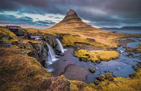 Kirkjufell Iceland Sky Clouds Mountain Waterfall Sea River