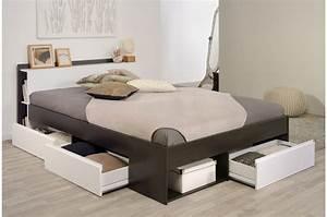 Lit 180x200 Pas Cher : lit 2 places avec rangement pas cher pour lit ~ Melissatoandfro.com Idées de Décoration