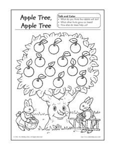 apple tree apple tree talk and color worksheet for pre k