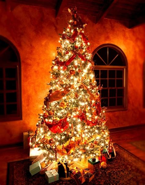 christmas trees decorated with red ribbon designcorner