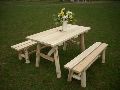 rustic white cedar log  foot picnic table  detached benches amish  usa ebay