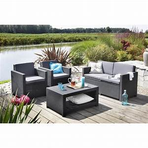 monaco salon de jardin 4 places aspect rotin tresse gris With salon de jardin confortable et zen