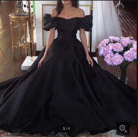 Vintage 1950s Ball Gown Prom Dress Off The Shoulder Black