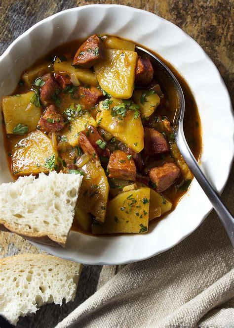 spanish potato  chorizo soup    bit  bacon