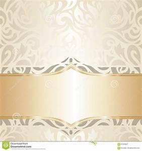 Wedding Vintage Wallpaper Design White & Gold Vector ...