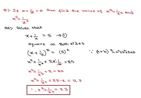 X+1x=5 Then Find The Value Of X^2+1x^2 And X^3+1x^3  Mathematics Questions And Answers Youtube