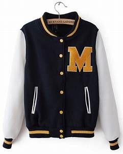 yellow fleece letter m navy white baseball jacket for With letters for jackets
