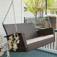wicker porch swings Modern Dark Brown Resin Wicker Porch Swing with Khaki Seat ...