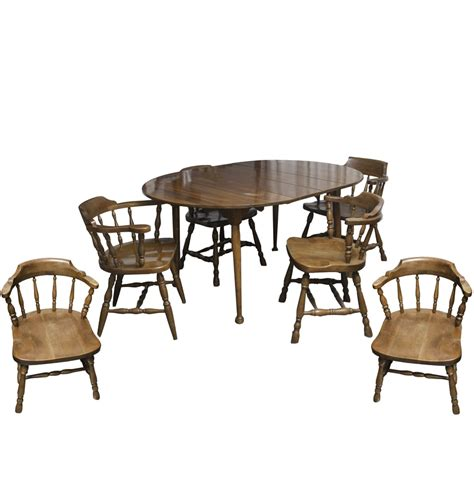 vintage colonial style dining table and chairs ebth
