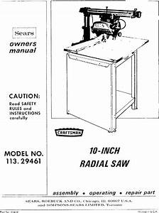 Craftsman 11329461 User Manual 10 Inch Accra Arm Radial
