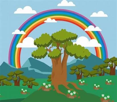 Rainbow Landscape Tree Colorful Mountain Background Nature