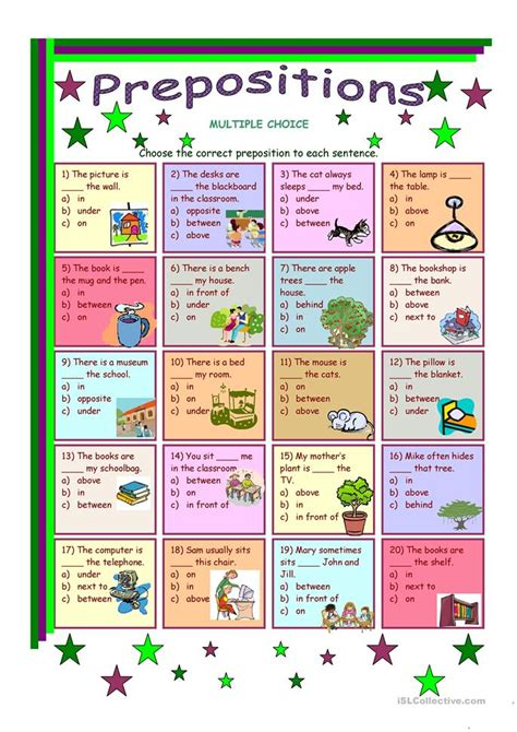 prepositions multiple choice elementary level