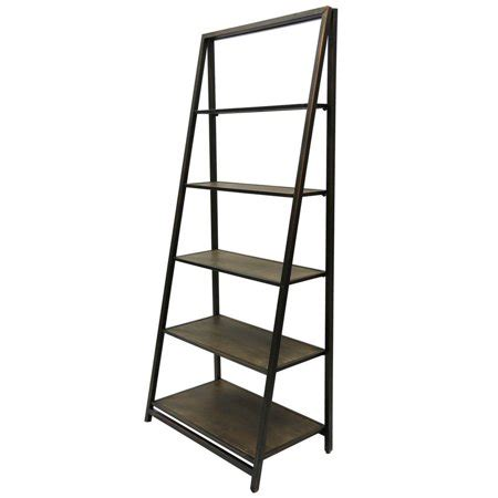 Leaning Bookcase Walmart by Stylecraft Metal And Wood 5 Tier Leaning Bookcase Home