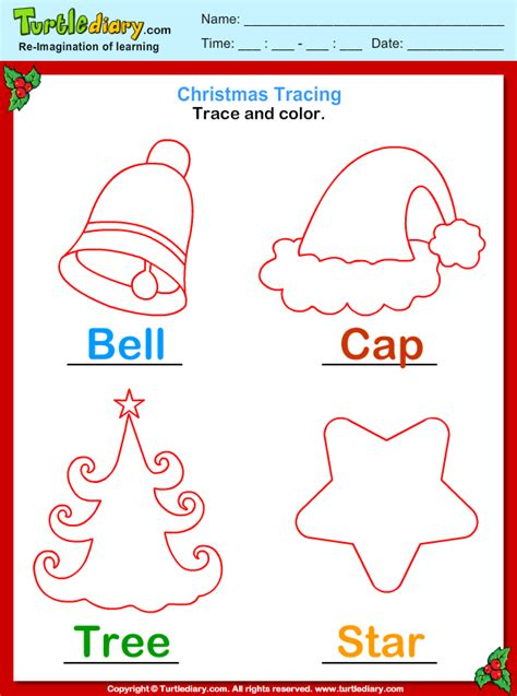 trace  color christmas vocabulary worksheet turtle diary