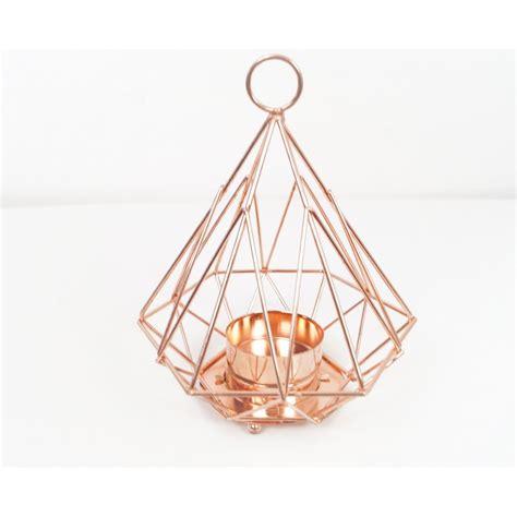 pyramid geometric copper candle holder 14cm copper