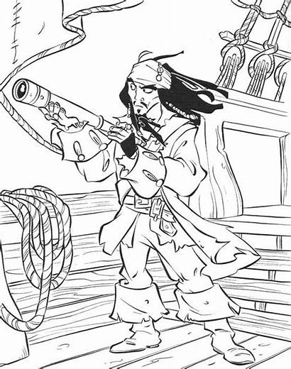 Coloring Pirates Caribbean Pages Pirate Jack Sparrow