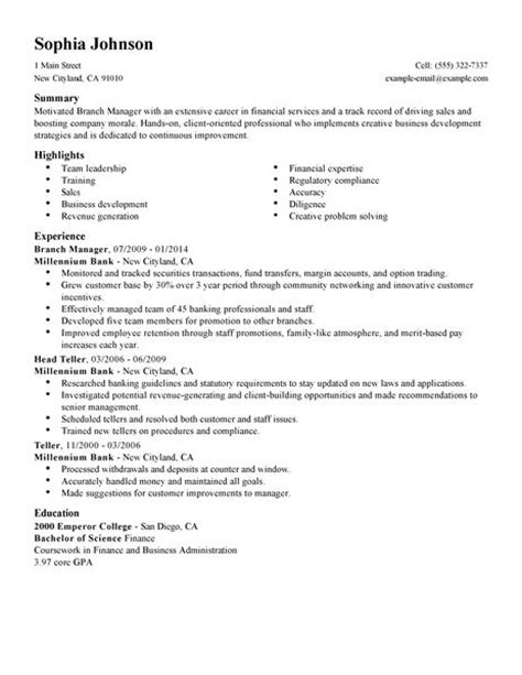 resume format for branch manager best branch manager resume exle livecareer