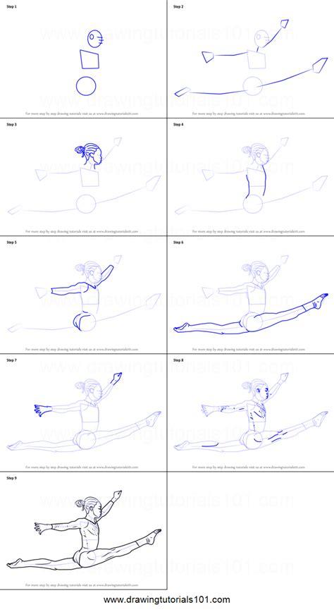 draw  gymnast printable step  step drawing sheet