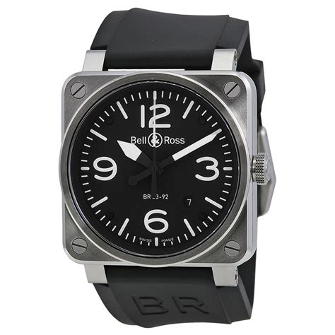 bell und ross bell and ross aviation black steel automatic 42 mm s br 03 92 steel