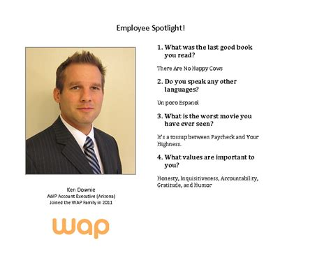 employee spotlight template employee spotlight ken downie workers assistance program wap