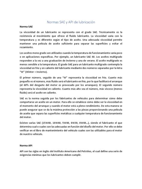 Norma SAE Y API | Lubricante | Viscosidad