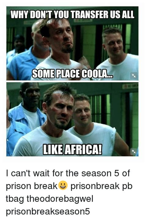 Prison Break Memes - why don t you transfer us all some place coola like africa i can t wait for the season 5 of