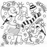 Coloring Winter Pages Adults Blizzard Illustration Cartoon Snowman Sign Children Boots Vector Mittens Background Branch Russia Celebration Plant Comments sketch template