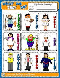 jobs occupations professions pictionary poster vocabulary