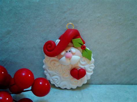 santa holiday ornament polymer clay
